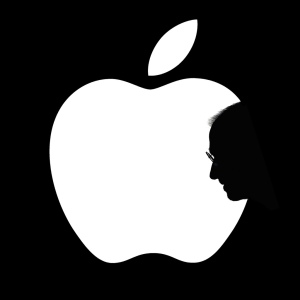 apple logo and steve jobs